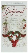 Girlfriend Christmas Card - A Heart Wreath With Robins Glitter & Foil   9x4.75""