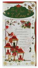 """One I Love Christmas Card - Red  Lanterns Robins & Gold Foil 9x4.25"""""""