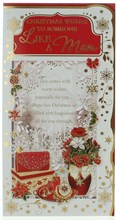 """Like A Mam Christmas Card - Christmas Flowers A Red Bag And Gold Foil 9"""" x 4.75"""""""