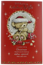 """Wife Christmas Card - Cute Bear With Hat Gifts Silver Foil Glitter 9.75"""" x 6.75"""""""