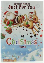 """Open Christmas Card Cute Santa on Sleigh with Glitter and Red Foil 9.75x6.75"""""""