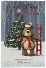 """Dad Christmas Card - Bear Putting Lights On The Tree With Foil & Glitter 9x6"""""""