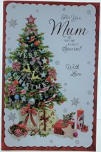 "Mum Christmas Card - Xmas Tree, Gifts Snowflakes Glitter & Foil 11"" x 7"""