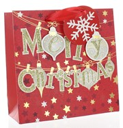 """Small Christmas Gift Bag Red with Gold Glitter Bauble Merry Christmas 6.25x6.25"""""""