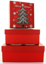 Set Of 3 Large Christmas Square Nested Gift Boxes - Modern Red & Black Xmas Tree