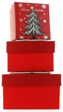 Set Of 3 Small Christmas Square Nested Gift Boxes - Modern Red & Black Xmas Tree