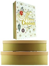Set Of 3 Shirt Christmas Oblong Nested Gift Boxes - Modern Gold Xmas Snowflakes