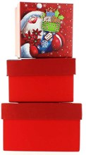 Set Of 3 Small Christmas Square Nested Gift Boxes - Cute Santa Claus & Stocking