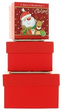 Set Of 3 Small Christmas Square Nested Gift Boxes - Cute Santa Claus & Reindeer