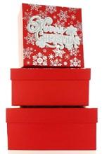 Set Of 3 Medium Christmas Square Nested Gift Boxes - Modern Merry Xmas Snowflake