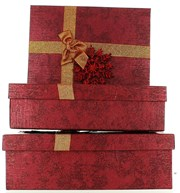 Set Of 3 Christmas Luxury Nested Shirt Gift Boxes - Deep Red Snowflake & Ribbon