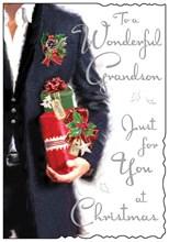 "Jonny Javelin Grandson Christmas Card - Man in Jacket with Gift & Foil 9"" x 6"""