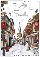 """To All The Family Christmas Card - Village in Snow with Glitter Silver Foil 9x6"""""""