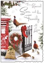 "Jonny Javelin Son & Family Christmas Card - Post Box Gate and Pheasants 9x6.25"""