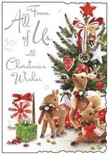 "Jonny Javelin From All of Us Christmas Card - Reindeer Under Tree 9""x6.25"""