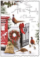 """Jonny Javelin From All The Family Christmas Card - Red Postbox Pheasants 9x6.25"""""""