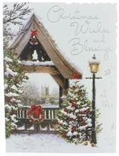 "Jonny Javelin Open Christmas Card - Church & Xmas Trees with Glitter 7.25x5.5"""