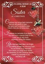 """Loving Memory Christmas Graveside Memorial Card - Dear Sister 6.5"""" x 4.75"""""""
