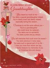 """Loving Memory Christmas Graveside Memorial Card - Dear Granddaughter 6.25x4.25"""""""