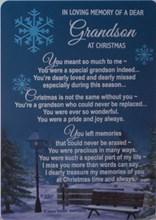 "Loving Memory Christmas Graveside Memorial Card - Grandson 6"" x 4"""
