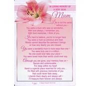 "Loving Memory Graveside Memorial Card - Dear Mum Pink Lily 6.25"" x 4.25"""