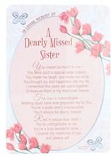 """Loving Memory Open Graveside Memorial Card - Sister 6"""" x 4"""""""