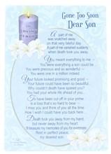 """Loving Memory Open Graveside Memorial Card - Son 6"""" x 4"""""""