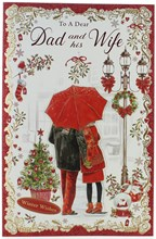 """Dad & Wife Christmas Card - Couple with Red Umbrella Tree Glitter & Foil 11x7"""""""