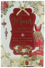 """Mum Christmas Card -Red Dress, Flowers & Snowflakes with Glitter & Foil 10.75x7"""""""