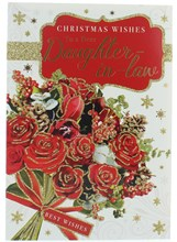 """Daughter-in-Law Christmas Card -Bouquet of Flowers with Glitter & Foil 7.5x5.25"""""""