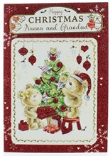 Nanna & Grandad Christmas Card - Cute Santa Bears & Tree With Glitter 7.75x5.25""
