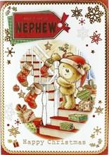 "Nephew Christmas Card Cute Santa Bear Stockings on Staircase Gold Foil 7.5x5.25"""