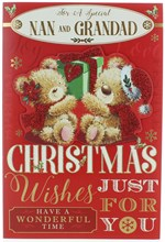 "Nan & Grandad Christmas Card -Bears Holding Green Gift with Glitter & Foil 9x6"""