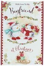 "Boyfriend Christmas Card Penguins in Scarves Poinsettia Glitter & Foil 9"" x 6"""