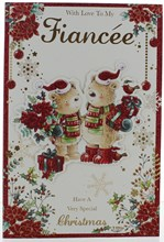 """Fiancee Christmas Card -Bears in Santa Hat With Gifts Poinsettia & Glitter  9x6"""""""