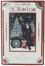 """Son-in-Law Christmas Card - Man by Car with Gift in Snow with Glitter   9"""" x 6"""""""