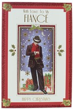 """Fiance Christmas Card - Man in Suit, Hat & Scarf with Gifts Foil Detail 9"""" x 6"""""""