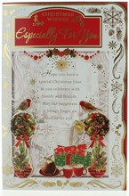 """Open Christmas Card - Robins & Presents With Trees Gold Foil  9"""" x 6"""""""