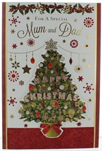 """Mum & Dad Christmas Card - Christmas Tree With Foil & Glitter  9x6"""""""