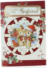 """Boyfriend Christmas Card - Bears with Gifts in 3D Snowflake with Glitter 10 x 7"""""""