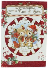 """One I Love Christmas Card -Bears with Gifts in 3D Snowflake with Glitter 10 x 7"""""""