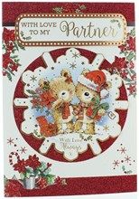 """Partner Christmas Card - Bears with Gifts in 3D Snowflake with Glitter 10 x 7"""""""