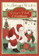 """Baby's First Christmas Card - Santa Leaving Gifts with Glitter & Foil 10"""" x 7"""""""