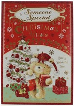 "Someone Special Christmas Card - Cute Bear, Xmas Tree & Presents Glitter 9"" x 6"""