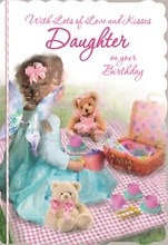 "Daughter Birthday Card - Little Girl, Fairy Wings & Big Picnic Hamper 8.75"" x 6"""