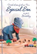 "Son Birthday Card - Little Boy, Navy Blue Flat Cap & Wooden Train Set 8.75"" x 6"""