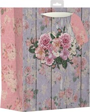 "2 x Large Female Gift Bag - Vintage Pink Roses & Floral Wooden Wall 13"" x 10.25"""