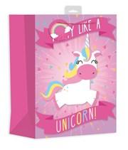 "Large Female Gift Bag - Juvenile Unicorn, Rainbow & Bright Triangles 13"" x 10.5"""