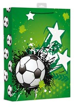 "Extra Large Male Gift Bag - Modern Green Football, Paint Blobs & Stars 18"" x 13"""