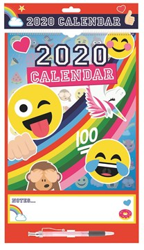 2020 Monthly Organiser Calendar Planner with Memo Notes Pad & Pen - Emoji's